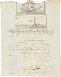 "Autographs:U.S. Presidents, Martin Van Buren Scalloped-Top Sea Passport Signed ""M VanBuren"" as president. One partially-printed vellum page, 12"" x..."
