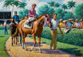 Mainstream Illustration, ARTHUR SARON SARNOFF (American, 1912-2000). Horse Racing.Oil on canvas. 24 x 36 in.. Signed lower left. ...