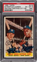 """Baseball Cards:Singles (1950-1959), 1958 Topps """"World Series Batting Foes"""" #418 Mickey Mantle and HankAaron Dual-Signed Card - PSA/DNA Authenticated. ..."""
