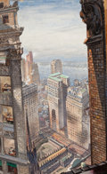 Mainstream Illustration, AMERICAN ARTIST (20th Century). View of New York City.Watercolor and gouache on board. 24.5 x 15 in.. Signed lowerrigh...