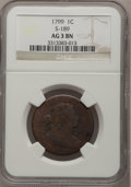 Large Cents, 1799 1C AG3 NGC. S-189, B-3, R.2....