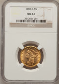 Liberty Half Eagles: , 1898-S $5 MS61 NGC. NGC Census: (125/248). PCGS Population(49/175). Mintage: 1,397,400. Numismedia Wsl. Price for problem ...