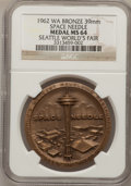 Expositions and Fairs, 1962 Medal Space Needle, Seattle World's Fair Medal MS64 NGC.Bronze, 39mm. Washington. An old collector's envelope accompa...