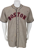 Baseball Collectibles:Uniforms, 1937 Boston Red Sox Game Worn Jersey....