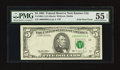 Error Notes:Foldovers, Fr. 1985-J $5 1995 Federal Reserve Note. PMG About Uncirculated 55EPQ.. ...