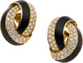 Estate Jewelry:Earrings, Diamond, Black Onyx, Gold Earrings. ...