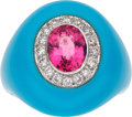 Estate Jewelry:Rings, Pink Tourmaline, Diamond, Turquoise, White Gold Ring. ...