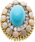 Estate Jewelry:Rings, Turquoise, Opal, Diamond, Gold Ring, Hammerman Bros.. ...