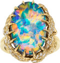 Estate Jewelry:Rings, Boulder Opal, Diamond, Gold Ring. ...