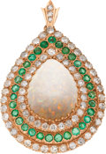 Estate Jewelry:Pendants and Lockets, Opal, Diamond, Emerald, Gold Pendant-Brooch. ...