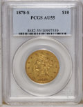 Liberty Eagles: , 1878-S $10 AU55 PCGS. A well struck orange-gold example from anoriginal mintage of 26,100 pieces. Only light wear is noted...