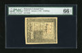 Colonial Notes:Delaware, Delaware January 1, 1776 4s PMG Gem Uncirculated 66EPQ. Anenormously margined example of this Delaware issue that hasgreat...