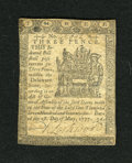Colonial Notes:Delaware, Delaware May 1, 1777 3d Extremely Fine. A couple of center foldsare noticed along with a couple of corner folds on this shi...