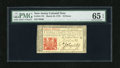 Colonial Notes:New Jersey, New Jersey March 25, 1776 18d PMG Gem Uncirculated 65EPQ. The face emblem is as colorful and well defined as any this catalo...