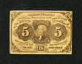Fractional Currency:First Issue, Fr. 1230 5c First Issue Extremely Fine. This note carries a couple of folds and the face frame lines have bled through onto ...