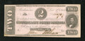 Confederate Notes:1862 Issues, T54 $2 1862. A little bit of handling and a small moisture spot inthe lower left-hand corner are noticed. A pinhole is obse...