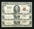 Small Size:Legal Tender Notes, Fr. 1550 $100 1966 Legal Tender Notes. Three Examples. Fine.. One of these $100 Legals has parts of a couple teller stamps s... (Total: 3 notes)