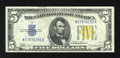 Small Size:World War II Emergency Notes, Fr. 2307 $5 1934A North Africa Silver Certificate. Choice Crisp Uncirculated.. This is an attractive note with two paper gui...