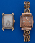 Timepieces:Wristwatch, Two - Swiss 14k Gold Wristwatches Runners. ... (Total: 2 Items)