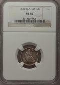 Seated Dimes: , 1837 10C No Stars, Large Date VF30 NGC. NGC Census: (11/335). PCGS Population (11/331). Mintage: 682,500. Numismedia Wsl. P...