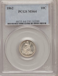 Seated Dimes: , 1862 10C MS64 PCGS. PCGS Population (44/29). NGC Census: (52/44).Mintage: 847,000. Numismedia Wsl. Price for problem free ...
