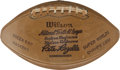 Football Collectibles:Others, 1966 Green Bay Packers Team Signed Photograph and Stamped Souvenir Football....