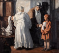 Mainstream Illustration, EDMUND FRANKLIN WARD (American, 1892-1991). Arriving atGrandmother's. Oil on canvas. 36 x 40 in.. Signed lower left....