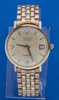 Timepieces:Wristwatch, Longines 14k Gold Automatic Wristwatch With Metal Band. ...