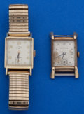 Timepieces:Wristwatch, Two 14k Gold Vintage Wristwatches. ... (Total: 2 Items)