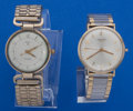 Timepieces:Wristwatch, Two Gold Wristwatches Longines - 14k Gold Elgin - 10k Gold . ... (Total: 2 Items)