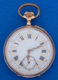 Swiss 14k Gold Fancy Dial 48 mm Pocket Watch