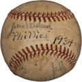 Autographs:Baseballs, 1934 Philadelphia Phillies Team Signed Baseball....