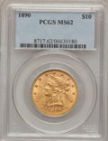 Liberty Eagles: , 1890 $10 MS62 PCGS. PCGS Population (80/14). NGC Census: (51/3).Mintage: 57,900. Numismedia Wsl. Price for problem free NG...