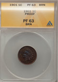 Proof Indian Cents: , 1901 1C PR63 Brown ANACS. NGC Census: (4/41). PCGS Population(7/21). Mintage: 1,985. Numismedia Wsl. Price for problem fre...