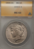 Peace Dollars: , 1935-S $1 MS64 ANACS. NGC Census: (857/449). PCGS Population(1309/714). Mintage: 1,964,000. Numismedia Wsl. Price for prob...