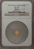 California Fractional Gold: , 1873 25C Indian Octagonal 25 Cents, BG-794, High R.5, MS63 NGC. NGCCensus: (2/2). PCGS Population (5/16). (#10621)...