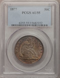 Seated Half Dollars: , 1877 50C AU55 PCGS. PCGS Population (15/186). NGC Census: (11/203).Mintage: 8,304,510. Numismedia Wsl. Price for problem f...