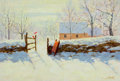 Mainstream Illustration, RUDY NAPPI (American, b. 1923). Wintertime. Oil on board. 6x 8.5 in. (image). Signed lower right. ...