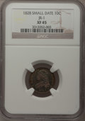 Bust Dimes, 1828 10C Small Date XF45 NGC. JR-1. NGC Census: (4/25). PCGSPopulation (2/47). Mintage: 125,000. (#4510)...