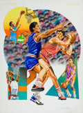 Mainstream Illustration, AMERICAN ARTIST (20th Century). Basketball Players inAction. Mixed media on board. 27 x 20 in.. Not signed. ...
