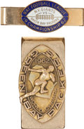 Football Collectibles:Others, 1962 Green Bay Packers Gold Money Clip and Championship Game Press Pin - Money Clip Presented to Gremminger from Vince Lombard...