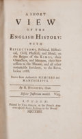 Books:First Editions, B. Higgons. A Short View of the English History. London:Tho. Edlin, 1723. First edition. Octavo. 435 pages. Contemp...