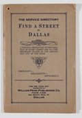 Books:Non-fiction, William Penn Publishing. The Service Directory: Find a Street in Dallas For the Year 1927. Dallas: William Penn Publ...