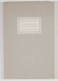 Books:First Editions, Willard Thorp and Henry S. Drinker. Two Addresses Delivered toMembers of the Grolier Club. New York: Grolier Cl...