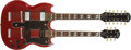 Musical Instruments:Electric Guitars, 1996 Epiphone SG Double-Neck Cherry Red Electric Guitar # U6120595....