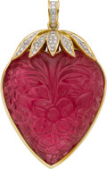 Estate Jewelry:Pendants and Lockets, Pink Tourmaline, Diamond, Gold Pendant. ...