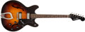 Musical Instruments:Electric Guitars, 1960s Hagstrom Viking VI Sunburst Thin Hollow Body Electric Guitar# 713750...