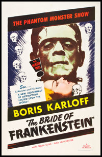 "The Bride of Frankenstein (Realart, R-1953). One Sheet (27"" X 41""). Horror"