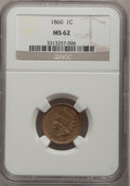 Indian Cents: , 1860 1C MS62 NGC. NGC Census: (106/733). PCGS Population (109/864).Mintage: 20,566,000. Numismedia Wsl. Price for problem ...
