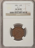 Half Cents: , 1851 1/2 C AU58 NGC. C-1. NGC Census: (87/332). PCGS Population(73/185). Mintage: 147,672. Numismedia Wsl. Price for prob...